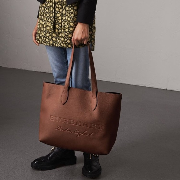 61d38aa011a8 Auth Burberry Remington Embossed Chestnut Tote. Listing Price   720